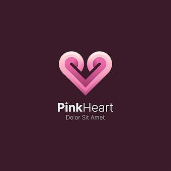 Pinky-herz mit glattem logo mit farbverlauf