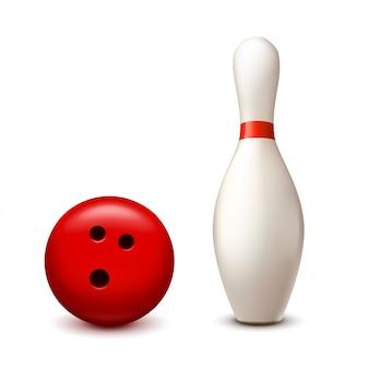 Pinn und ball auf weiß