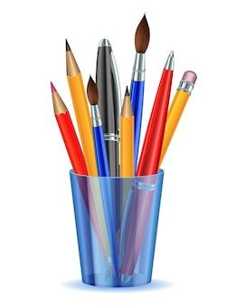 Pinsel, bleistifte und kugelschreiber im halter. vektor-illustration