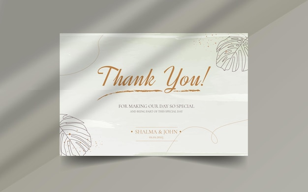 Pinsel floral abstrakte organische form mit bearbeitbarem text danke hochzeitskarten-etikett-vorlage