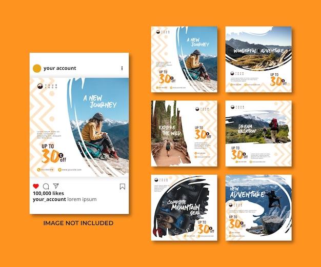 Pinsel frühlingswandern reise abenteuer social media banner instagram vorlagen