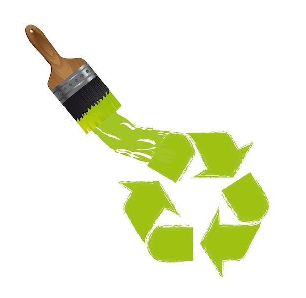 Pinsel mit recycling-zeichen isoliert