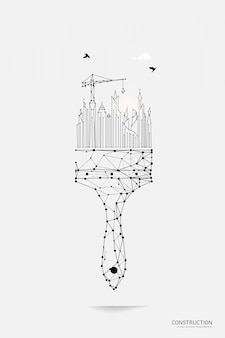 Pinsel mit smart city im polygonalen drahtmodellstil