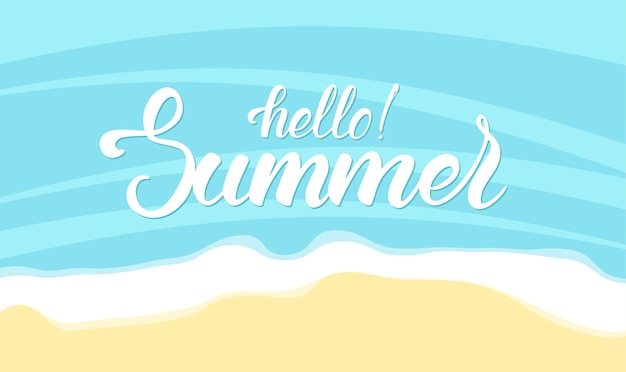 Pinsel schriftzug von hallo sommer auf ozean strand hintergrund