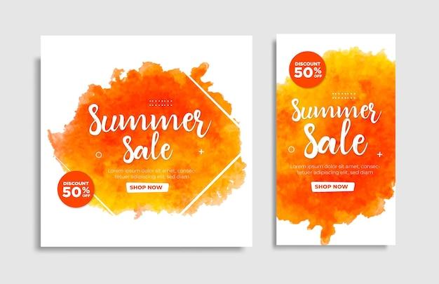 Pinsel-sommer-sale für instagram-post-vorlage