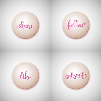 Pinsel stift schriftzug für social media set