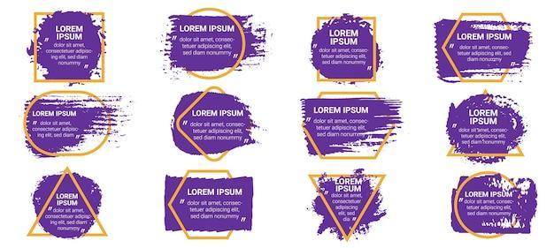 Pinsel-zitat-boxen. schmutzige striche und tintenspritzer in geometrischen rahmen mit text und titeln. zitate im runden sprachgrenzvektorsatz. illustrationsform und fleck, schmutzige farbzeichnung