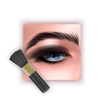 Pinsel zum mischen von lidschatten mit einem make-up-pinsel in einem realistischen stil
