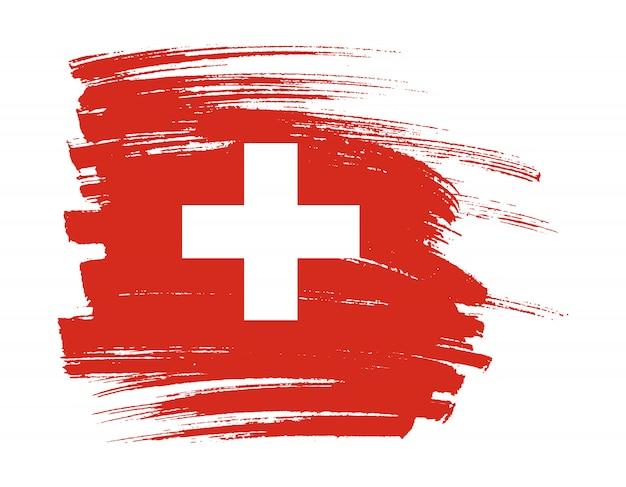 Pinselstrich flagge der schweiz