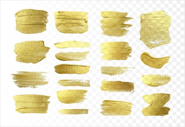 Pinselstriche goldeffekt isoliert. abstrakte goldglittertextur