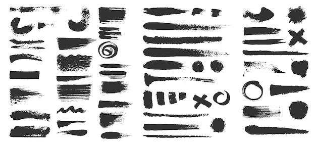 Pinselstriche. grunge strukturierte schwarze farblinien, kreise und kreuze. distress-tintenformen, -kleckse und -kurven. schmutzige fleckbürsten-vektorsatz. klecksfarbe, kritzelnde texturtintenillustration