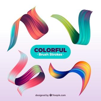 Pinselstriche Sammlung mit vielen Farben