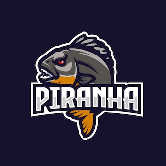 Piranha esport team logo emblem