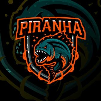Piranha mscot gaming-schild