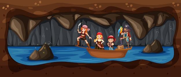 Pirat auf dem boot im unterirdischen cave river