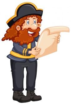 Pirat, der eine karte auf weißem hintergrund liest