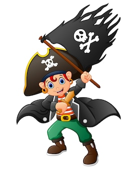 Pirat, der piratenflagge hält