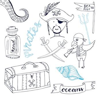 Pirat eingestellt mit nettem papageien. hand gezeichnete karikatursammlung. gekritzelvektorillustrationen.