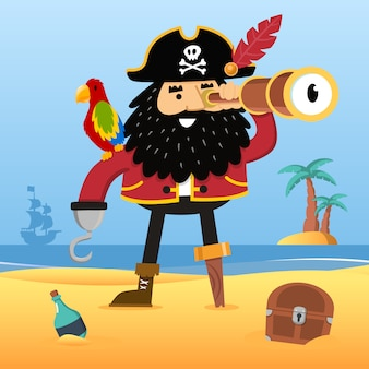Pirat mit fernglas