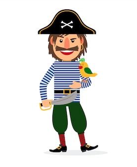Pirat mit schwert und papagei