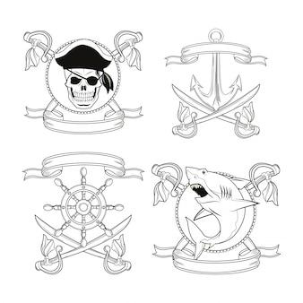 Pirate und marine themenabzeichen