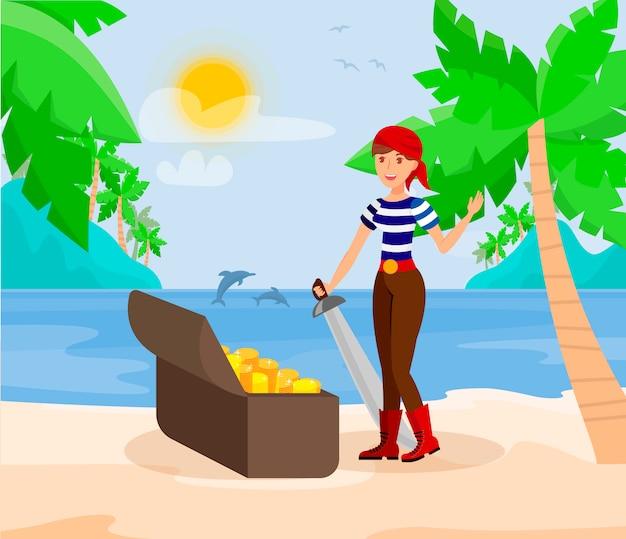 Piraten-dame mit schwert-flache farbillustration