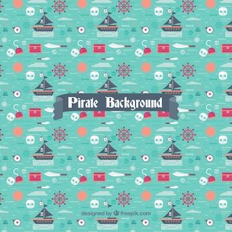 Piraten dekoratives muster in flachem design