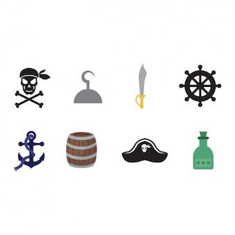 Piraten-elemente-sammlung Kostenlosen Vektoren