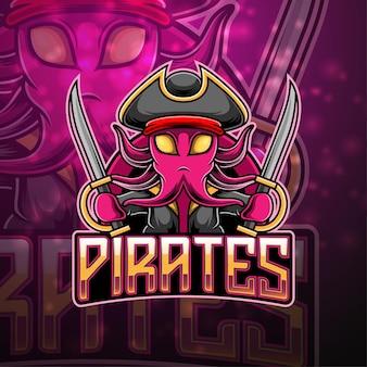 Piraten esport maskottchen logo design