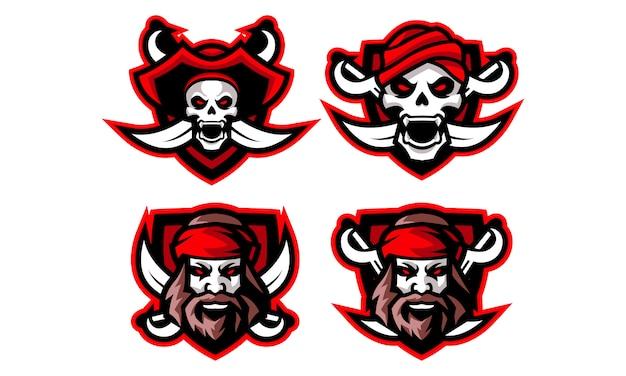 Piraten-esport-maskottchen-logo-sammlung
