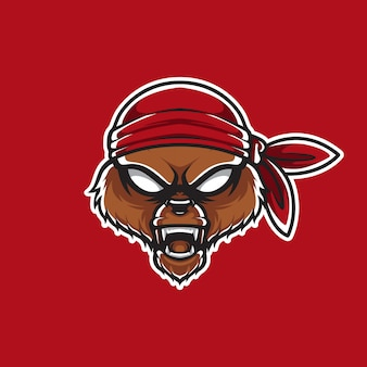 Piraten-grizzlykopf-schablonen-logo