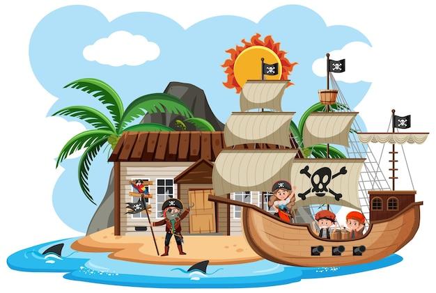 Piraten haben verlassenes haus auf insel gefunden