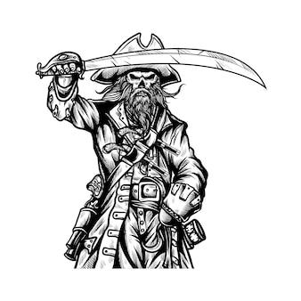 Piraten halten schwertillustration