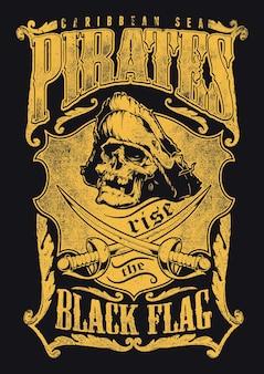 Piraten hissen die schwarze flagge