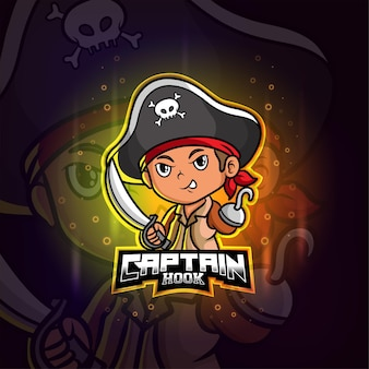 Piraten kapitän haken maskottchen esport buntes logo