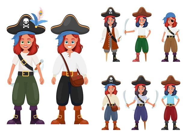 Piraten kleine mädchenillustration lokalisiert auf weiß