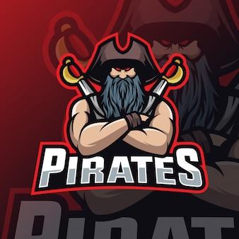 Piraten maskottchen esport logo