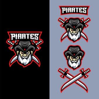Piraten-maskottchen-logo für sportspiel-esport-team