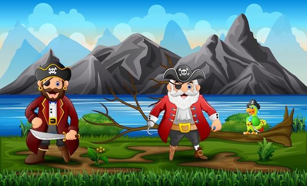 Piraten mit einem papagei in der nähe des flusses