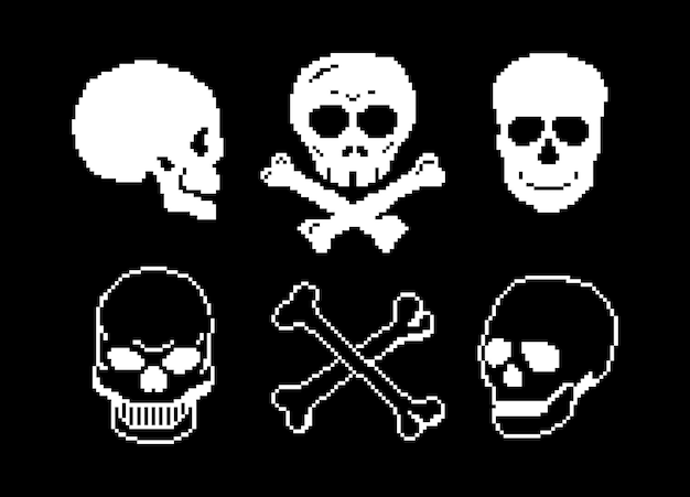Piraten-pixel-kunst jolly roger schädel seeräuber