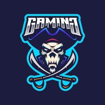 Piraten schädel logo maskottchen