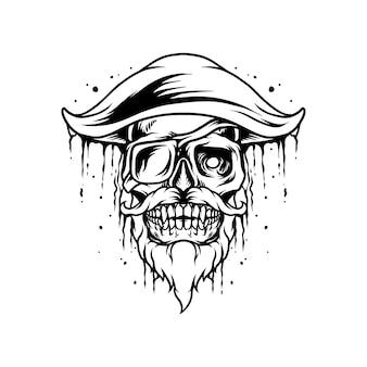 Piraten-schädel-maskottchen-silhouette