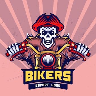 Piraten-schädel-radfahrer esport logo design