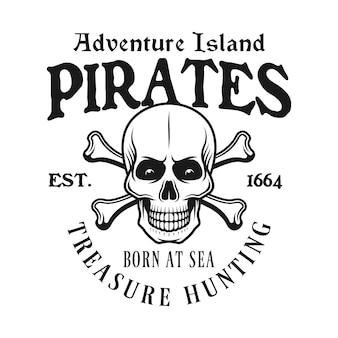 Piraten-schädel und knochen-emblem im vintage-stil isoliert auf weiß