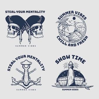 Piraten set vintage retro abzeichen
