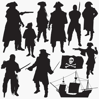 Piraten-silhouetten