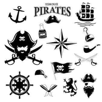 Piraten-symbole setzen säbelschädel mit bandana und knochen hookhat altes schiffsankerfass rum