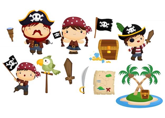 Piraten-vektor festgelegt