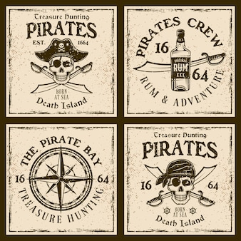 Piraten vintage embleme oder t-shirt drucke auf grunge hintergrund