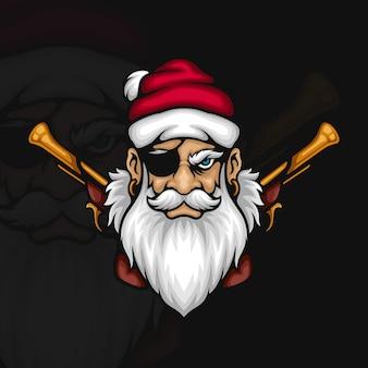 Piraten-weihnachtsmann mit steinschlosspistolen